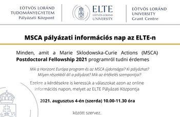MSCA pályázati információs nap az ELTE-n